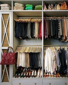 Talk about serious closet goals right here! Looking for ways to organize the closet you already have? We found 15 organizing ideas for your most clutter-prone spots. Click the affiliate link in our profile to read more! #closetgoals #closetenvy #organized closet http://rstyle.me/n/ccb9asn2ge Image by Annie Schlechter/GMAimages via One Kings Lane.