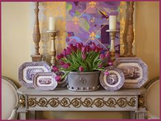 Swede Collection console table with Spring Tulips.