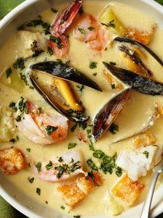 Peruvian Seafood Chowder recipe from Food Network Kitchen via Food Network  |  I've never eaten mussels.  I wouldn't be so leery of trying them, except I can't eat clams.