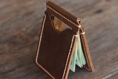 Leather Money Clip Wallet Handmade Rustic Signature por JooJoobs