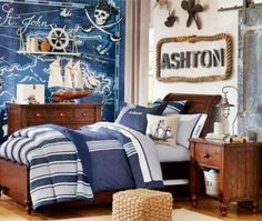 Home Decor Pictures Minimalist kids' bedroom decor ideas are going to be true through this list of examples!Home Decor Pictures Minimalist kids' bedroom decor ideas are going to be true through this list of examples! Pirate Bedroom Decor, Nautical Bedroom, Bedroom Themes, Bedroom Colors, Kids Bedroom, Boy Bedrooms, Bedroom Ideas, Bedroom Art, Nursery Ideas