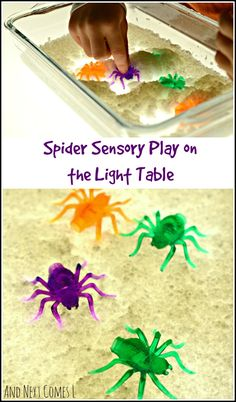 Spider sensory play on the light table for toddlers and preschoolers - great activity for Halloween from And Next Comes L