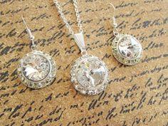 Bridesmaid Jewelry Set - Flower Girl Jewelry Set - Bella Crystal Rivoli - Diamond Bridal Earrings - Bridal Earrings - Halo Crystal Pendant