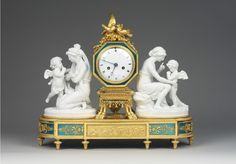 OnlineGalleries.com - A Louis XVI Ormolu and Biscuit Porcelaine Mantel Clock by Manière. c1795