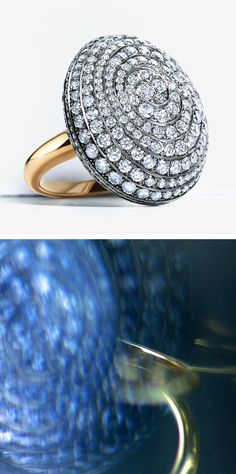 This stunning ring reflects the sea's power to shape beauty over a millennia. Over 400 rare blue diamonds—a notable acquisition—are set in 18k white gold and balanced on an 18k yellow gold band. The curvaceous setting is as dynamic as the natural world that inspired it.