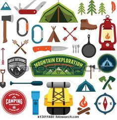 Clipart of Vintage summer camp and outdoor badges k18464092 ...