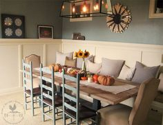 Harvest table with build in seating and interesting chairs