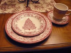 Christmas transferware - Johnson Brothers Old Britain Castles Christmas Tree pattern... I really like it but it doesn't exactly go with the Fiestaware.