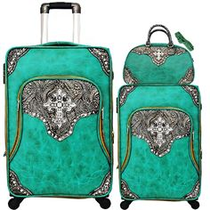 Turquoise Three Piece Cross Luggage Set