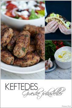 Lækre græske frikadeller med tzatziki og pitabrød. Opskrift fra Marinas Mad Tzatziki, Greek Recipes, Chicken Wings, Buffet, French Toast, Recipies, Snacks, Meat, Dinner