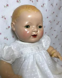 Effanbee Dolls, Flawless Face, Ruby Lane, Vintage Dolls, Blue Eyes, 1930s, Blond, Doll Clothes, Houses
