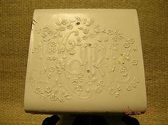 "ANTIQUE  ""Hdkfs""  IVORY  CELLULOID  HANDKERCHIEF  BOX   Circa  EARLY  1900's"