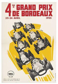 4ème Grand Prix de Bordeaux - 1955 - Shell - illustration de Pera - France -