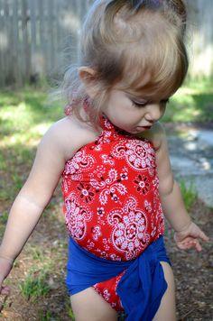 Baby Bathing Suit Red Bandana and Royal Blue Wrap Around Swimsuit Girls Swimwear Toddler Swimsuit