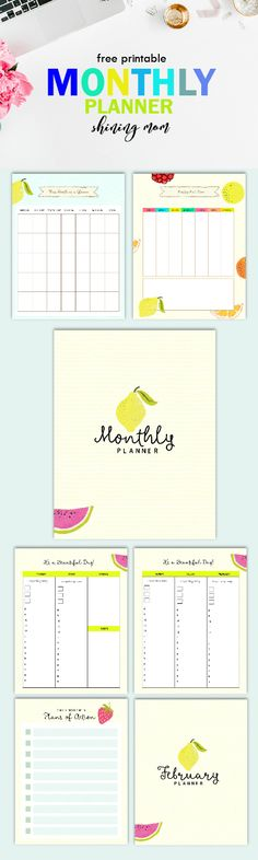 Plan your moth with this cute fruity planner! #planner #printable #monthlyplanner #freeplanner