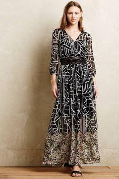 Anthropologie Equinox Pleated Maxi Dress 4 & 6, Black Flowy By Moulinette Soeurs #MoulinetteSoeurs #Maxi #Casual