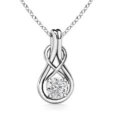 Angara Womens Solitaire Emerald Infinity Knot Pendant in White Gold