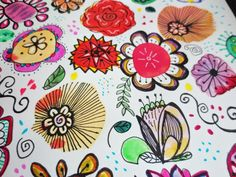 Easy and Fun Watercolor Flower Doodles Easy Drawings For Beginners, Easy Drawings For Kids, Art For Kids, Doodle Art Letters, Doodle Art Journals, Watercolor Flowers Tutorial, Watercolour Flowers, Simple Doodles, Family Crafts