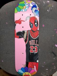 Mini Skateboard Deck Deadpool x Jordan x Takashi Murakami Custom Painting Painted Skateboard, Skateboard Deck Art, Skateboard Design, Custom Skateboards, Cool Skateboards, Skate Bord, Skate Photos, Arte Hip Hop, High School Art Projects