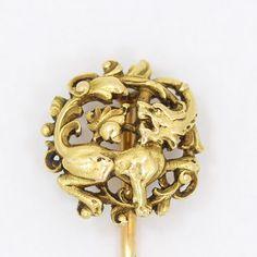 Antique 14k Gold Rampant Raging Lion Victorian Art Nouveau Hallmarked Stick Pin