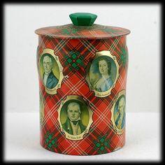 Vintage Toffee Tin Tartan Scottish Portrait Lithographs George Horner