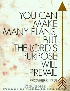 You can make many plans, but the LORD's purpose will prevail. Proverbs 19:21