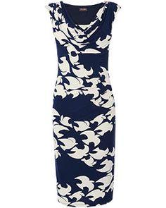 Phase Eight Womens Dark Blue Denim Fitted Sleeveless Shift Dress UK Size 10.
