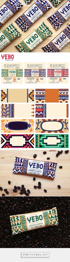 Yebo Energy bar packaging designed by Alexander Vidal… Rice Packaging, Cool Packaging, Brand Packaging, Design Logo, Branding Design, Graphic Design, Geometric Graphic, Graphic Patterns, Food Design