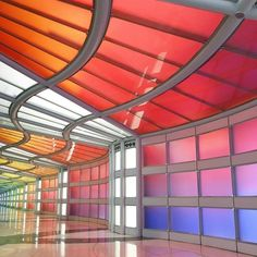 Have you seen this colorful space at the O'Hare airport?!  (: @jenniferlake) #ABMspaces by abeautifulmess