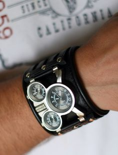 "Mens wrist watch Leather bracelet ""Tuareg-5-Light""- SALE - Worldwide Shipping - Steampunk Watches"