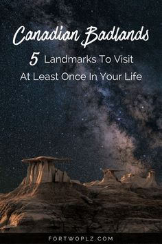 Going on a road trip to Canadian Badlands this summer! Then you must visit these breathtaking attractions and historical landmarks. Click through to find out more on For Two, Please now. Alberta Canada, Banff, Vancouver Tourist Attractions, Calgary, Alaska, Alberta Travel, 2017 Ford Escape, Places To Travel, Places To Visit