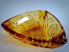 Vintage Amber Glass Ashtray Golden Pressed Glass c50s 60s & 70s by FelixVintageMarket