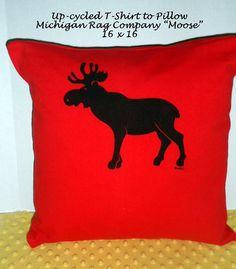 Michigan Rag Company Up-Cycled T-shirt to Pillow. Moose Pillow, Red with black moose. T-Shirt to Pillow