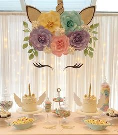 Unicorn theme paper flower backdrop! Pastel colours