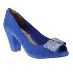 Sapato Peep Toe Via Marte 14-13001 - Azul Bic (M. Fibra) - Calçados Online Sandálias, Sapatos e Botas Femininas | Katy.com.br