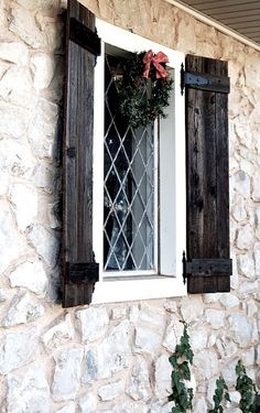 Outside window shutters, outdoor shutters, red shutters, rustic shutters, s Wooden Shutters Exterior, Rustic Shutters, House Shutters, Black Shutters, Outside Window Shutters, Outdoor Shutters, Up House, House In The Woods, Modern Farmhouse Exterior