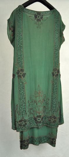 1920's French Green Beaded Silk Flapper Dress. Back