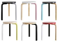 DIY idea: Paint Ikea stool looking like Alvar Aalto stool (this is the Alvar Aalto stool)