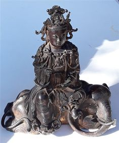 Chinese Gold Gilt Bronze Buddha Guanyin Seated On Elephant Yuan or Ming Dynasty - antique chinese Sculptures, Lion Sculpture, Guanyin, Chinese Antiques, Buddhism, Elephant, Bronze, China, Statue