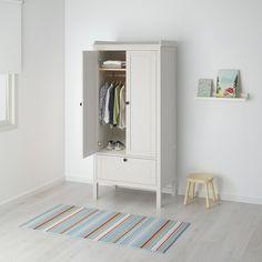IKEA - SUNDVIK, Wardrobe, white, Deep enough to hold standard-sized adult hangers. Doors with silent soft-closing damper. Nursery Furniture, Furniture Sets, Office Furniture, Ikea Sundvik, Free Standing Wardrobe, Armoire Ikea, White Armoire, Childrens Wardrobes, Minimalist Decor