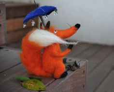 The Red Fox with Umbrella. Felted. Via Etsy.