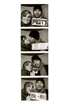 photo booth Christmas card with signs