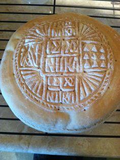 Symbolism of the stamps on the prosfora Greek Paraphernalia, Eucharist, Greek Recipes, Christianity, Religion, Bread, Easter, Desserts, Pains
