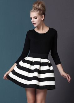 Black White Striped Three Quarter Length Sleeve Stripe Dress $37.29