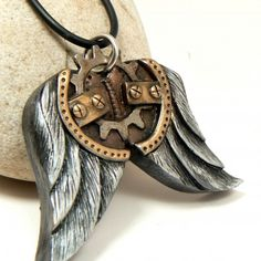Steampunk Jewelry Wings Pendant Rustic Gear Faux Metal Straps Feathers