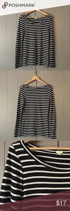 """Striped J. Crew 10 percent Long Sleeve Tee🍃 Lightweight top in excellent condition. Runs a little big. 90% Tencil, 10% cashmere. Armpit to armpit is 17"""". Length is 26"""". Offers are welcome. ☺️ J. Crew Tops Tees - Long Sleeve"""