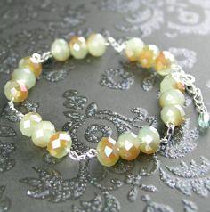 Opal Mint Green Bracelet Sterling Silver Milky by DorotaJewelry