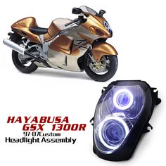Suzuki Hayabusa GSX1300R 1997-2007 Custom Headlight Assembly, easy Installation, Directly replace the factory stock headlight ! http://www.ktmotorcycle.com/custom-headlights/suzuki-custom-headlights/suzuki-gsx-1300r-hayabusa/suzuki-gsx-1300r-hayabusa-1997-2007.html