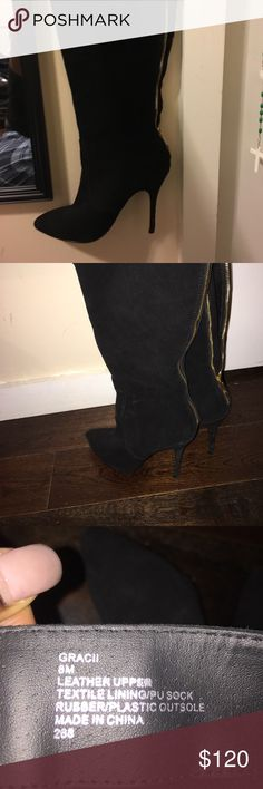 "Black Knee High Steve Madden Boot ""GRACII"" style Steve Madden suede knee high boot!  Only worn once. 8m ( price is negotiable) make me an offer 💰 Steve Madden Shoes Over the Knee Boots"