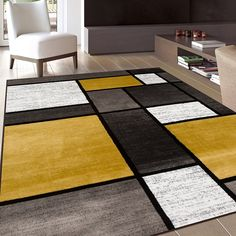 Yellow Area Rugs, White Area Rug, Grey And Yellow Living Room, Yellow Gray Bedroom, Gray Yellow, Stain Remover Carpet, Area Rugs For Sale, Modern Carpet, Carpet Stains